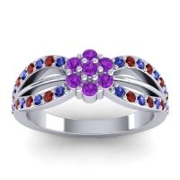 Simple Floral Pave Kalikda Amethyst Ring with Garnet and Blue Sapphire in 18k White Gold