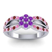 Simple Floral Pave Kalikda Amethyst Ring with Garnet and Pink Tourmaline in 18k White Gold