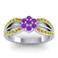 Simple Floral Pave Kalikda Amethyst Ring with Peridot and Citrine in 18k White Gold