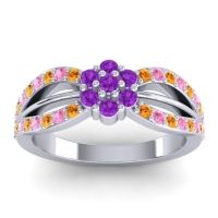 Simple Floral Pave Kalikda Amethyst Ring with Pink Tourmaline and Citrine in 14k White Gold