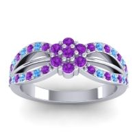 Simple Floral Pave Kalikda Amethyst Ring with Swiss Blue Topaz in Platinum