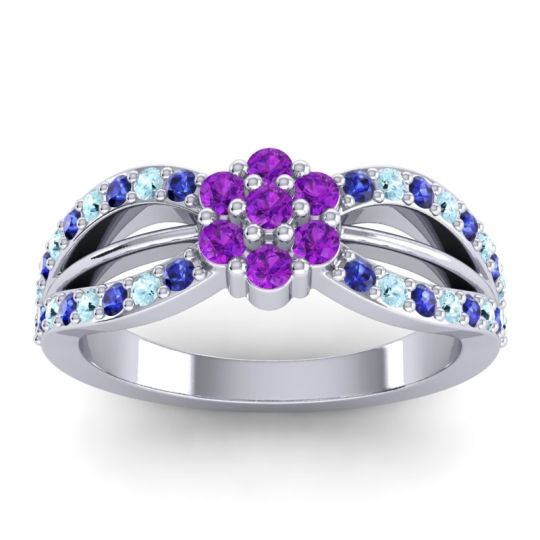 Simple Floral Pave Kalikda Amethyst Ring with Aquamarine and Blue Sapphire in 18k White Gold