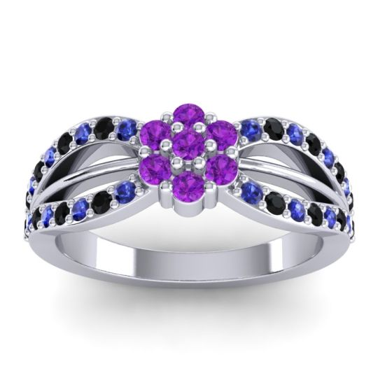 Simple Floral Pave Kalikda Amethyst Ring with Black Onyx and Blue Sapphire in Palladium