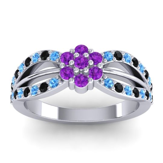 Simple Floral Pave Kalikda Amethyst Ring with Black Onyx and Swiss Blue Topaz in 14k White Gold