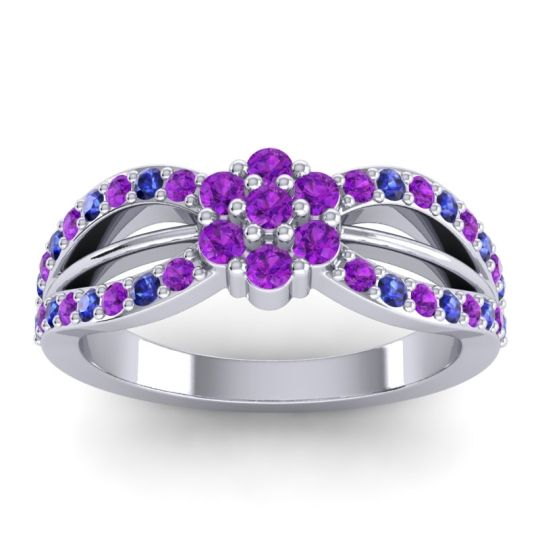 Simple Floral Pave Kalikda Amethyst Ring with Blue Sapphire in 18k White Gold
