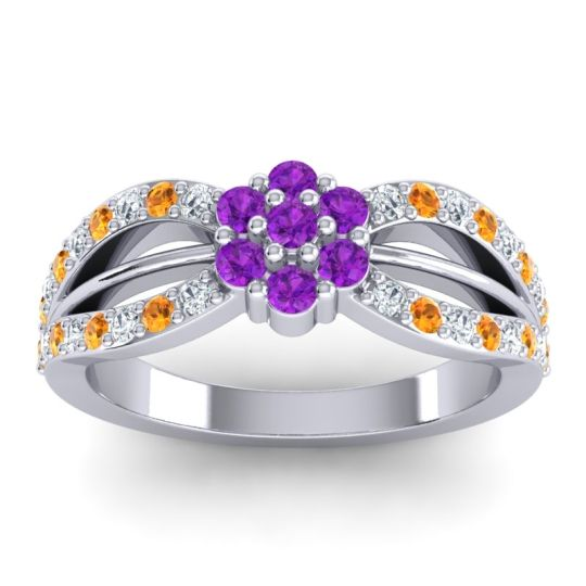 Simple Floral Pave Kalikda Amethyst Ring with Citrine and Diamond in 18k White Gold