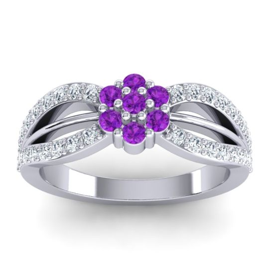 Simple Floral Pave Kalikda Amethyst Ring with Diamond in 18k White Gold