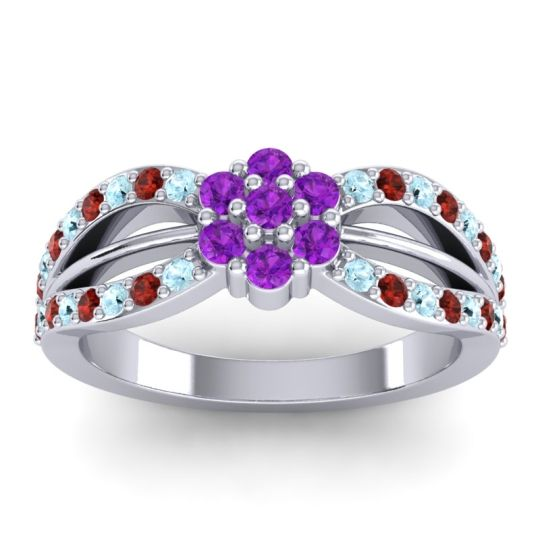 Simple Floral Pave Kalikda Amethyst Ring with Garnet and Aquamarine in Palladium