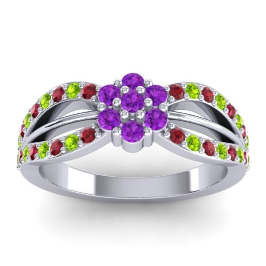 Simple Floral Pave Kalikda Amethyst Ring with Peridot and Ruby in 18k White Gold