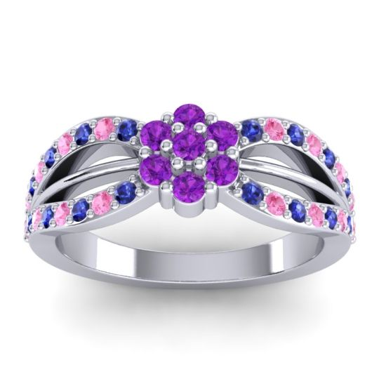 Simple Floral Pave Kalikda Amethyst Ring with Pink Tourmaline and Blue Sapphire in Palladium