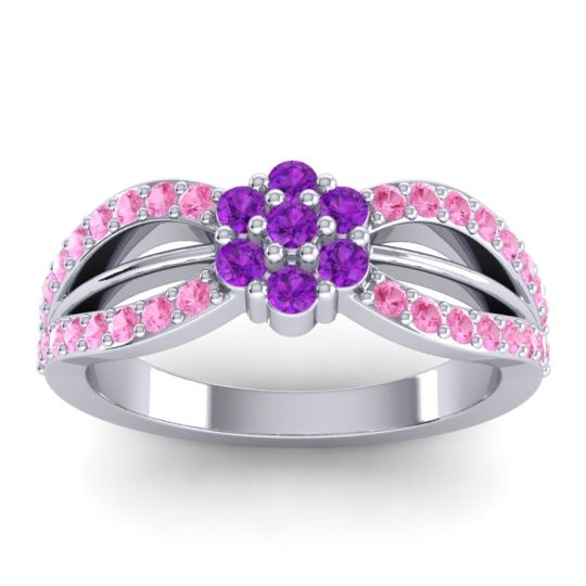 Simple Floral Pave Kalikda Amethyst Ring with Pink Tourmaline in 14k White Gold