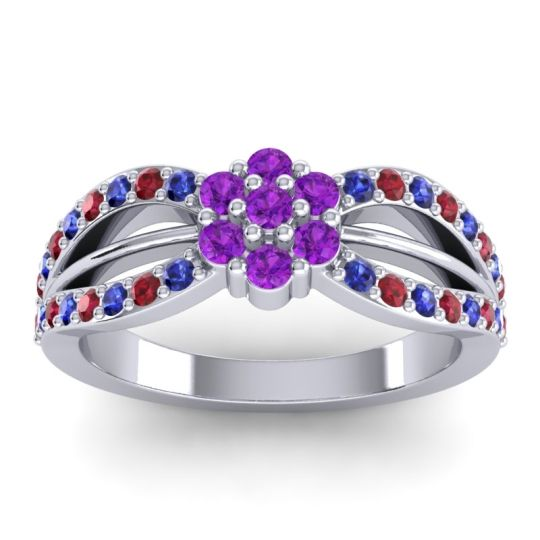 Simple Floral Pave Kalikda Amethyst Ring with Ruby and Blue Sapphire in Platinum