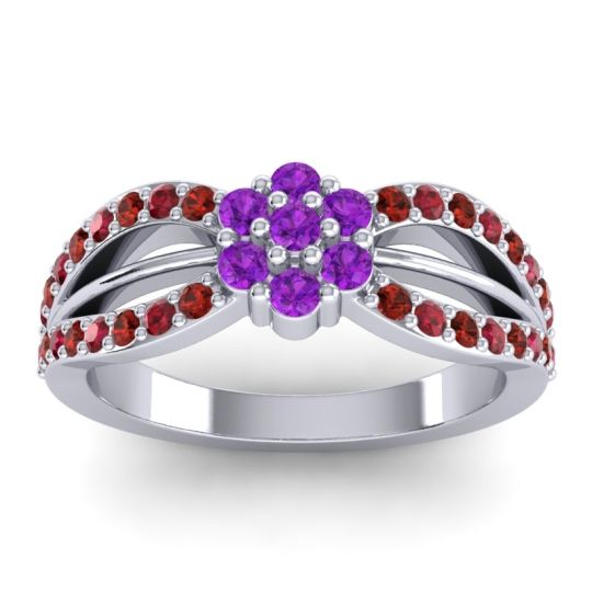 Simple Floral Pave Kalikda Amethyst Ring with Ruby and Garnet in Palladium