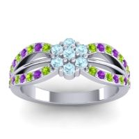 Simple Floral Pave Kalikda Aquamarine Ring with Amethyst and Peridot in Platinum