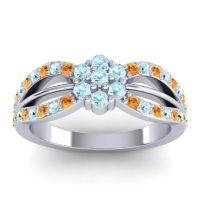 Simple Floral Pave Kalikda Aquamarine Ring with Citrine in Platinum