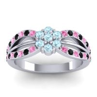 Simple Floral Pave Kalikda Aquamarine Ring with Black Onyx and Pink Tourmaline in 18k White Gold