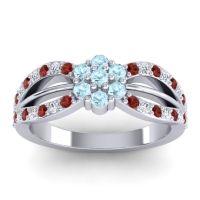 Simple Floral Pave Kalikda Aquamarine Ring with Diamond and Garnet in 14k White Gold