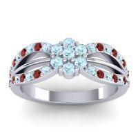 Simple Floral Pave Kalikda Aquamarine Ring with Garnet in Palladium