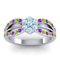 Simple Floral Pave Kalikda Aquamarine Ring with Peridot and Amethyst in 18k White Gold