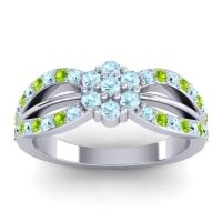 Simple Floral Pave Kalikda Aquamarine Ring with Peridot in 14k White Gold