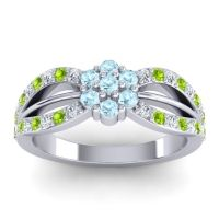 Simple Floral Pave Kalikda Aquamarine Ring with Peridot and Diamond in 18k White Gold