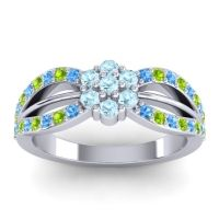 Simple Floral Pave Kalikda Aquamarine Ring with Peridot and Swiss Blue Topaz in 14k White Gold