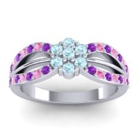 Simple Floral Pave Kalikda Aquamarine Ring with Pink Tourmaline and Amethyst in 18k White Gold