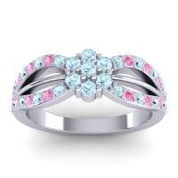 Simple Floral Pave Kalikda Aquamarine Ring with Pink Tourmaline in 14k White Gold