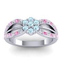 Simple Floral Pave Kalikda Aquamarine Ring with Pink Tourmaline and Diamond in Platinum