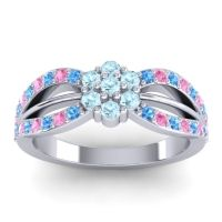 Simple Floral Pave Kalikda Aquamarine Ring with Pink Tourmaline and Swiss Blue Topaz in 18k White Gold