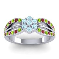 Simple Floral Pave Kalikda Aquamarine Ring with Ruby and Peridot in Platinum