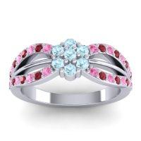 Simple Floral Pave Kalikda Aquamarine Ring with Ruby and Pink Tourmaline in Palladium
