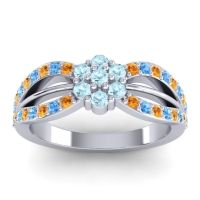 Simple Floral Pave Kalikda Aquamarine Ring with Swiss Blue Topaz and Citrine in 18k White Gold