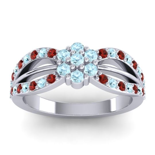 Simple Floral Pave Kalikda Aquamarine Ring with Garnet in 18k White Gold