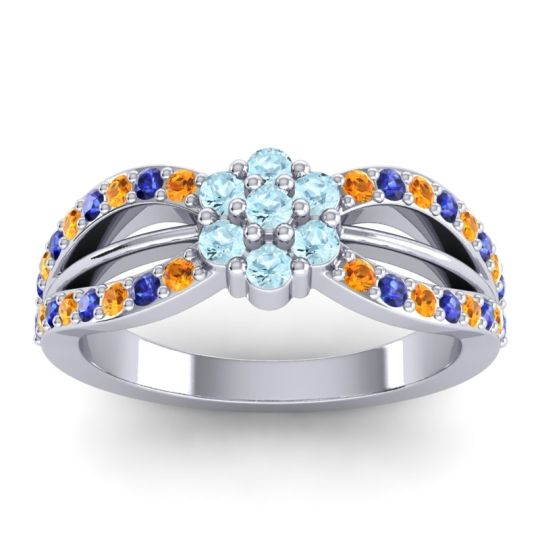 Simple Floral Pave Kalikda Aquamarine Ring with Blue Sapphire and Citrine in Platinum