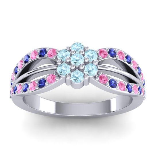 Simple Floral Pave Kalikda Aquamarine Ring with Blue Sapphire and Pink Tourmaline in Palladium