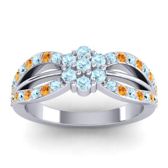 Simple Floral Pave Kalikda Aquamarine Ring with Citrine in 14k White Gold