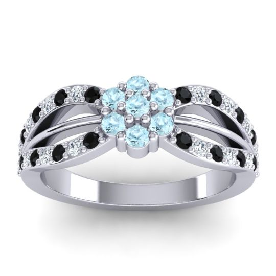 Simple Floral Pave Kalikda Aquamarine Ring with Diamond and Black Onyx in 18k White Gold