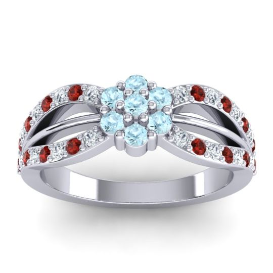 Simple Floral Pave Kalikda Aquamarine Ring with Garnet and Diamond in Platinum