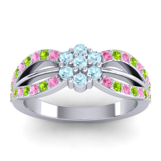 Simple Floral Pave Kalikda Aquamarine Ring with Peridot and Pink Tourmaline in 18k White Gold
