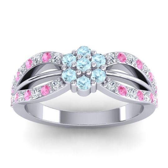 Simple Floral Pave Kalikda Aquamarine Ring with Pink Tourmaline and Diamond in 14k White Gold
