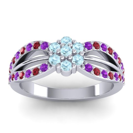 Simple Floral Pave Kalikda Aquamarine Ring with Ruby and Amethyst in Platinum