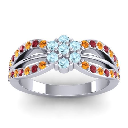 Simple Floral Pave Kalikda Aquamarine Ring with Ruby and Citrine in Palladium