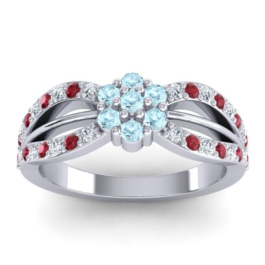 Simple Floral Pave Kalikda Aquamarine Ring with Ruby and Diamond in Platinum