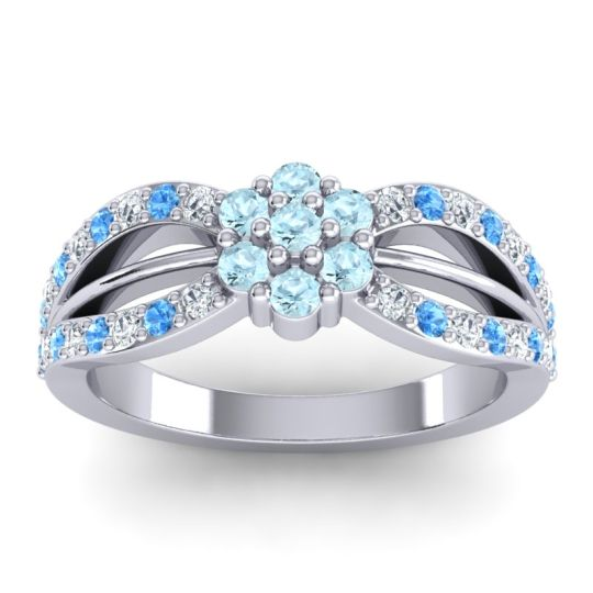 Simple Floral Pave Kalikda Aquamarine Ring with Swiss Blue Topaz and Diamond in Platinum