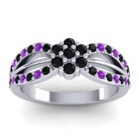 Simple Floral Pave Kalikda Black Onyx Ring with Amethyst in 14k White Gold