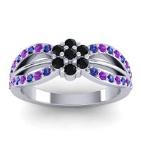 Simple Floral Pave Kalikda Black Onyx Ring with Amethyst and Blue Sapphire in Platinum