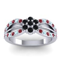 Simple Floral Pave Kalikda Black Onyx Ring with Aquamarine and Ruby in Platinum