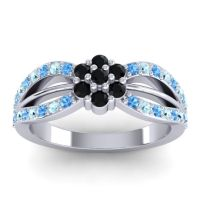 Simple Floral Pave Kalikda Black Onyx Ring with Aquamarine and Swiss Blue Topaz in 14k White Gold