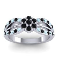 Simple Floral Pave Kalikda Black Onyx Ring with Aquamarine in 18k White Gold
